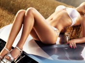 Hot Babe and Car, hood, sport cars, beauty, blonde, model, bikini, automobiles, girl, sexy