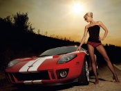 Hot Babe and ford Gt wallpaper
