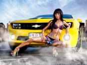 Hot Babe and Muscle Car