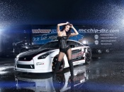 Hot Babe and Nissan GTR sport car