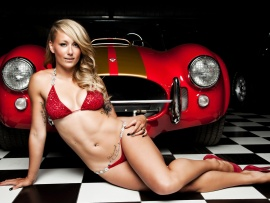 Hot blonde and AC Cobra (click to view)