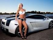 Hot blonde, lamborghini gallardo, sexy model, busty babe, lingerie beauty, babes and cars, sweet ride, nice rack
