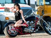 Hot brunette babe biker