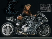 sexy model on 2006 kawasaki zx14 superbike wallpaper, superbike wallpaper, custom bike wallpaper, sexy babe and bike wallpaper