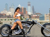 Hot Latina and motorcycle wallpaper