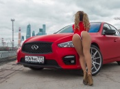 Infiniti fx, hot ass babe, sexy back, round ass, butt, curvy babe, blonde, girls and cars, babes and cars