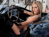 Jenny Poussin driving the hot ac cobra vintage car wallpaper