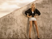 Jessica Hart, sexy miniskirt, showing her smooth long legs, wallpaper, hot babe, sexy model, blonde