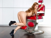 Josee Lanue hot ass playmate on a barber chair
