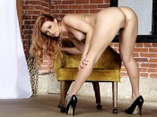 Karlie Montana, pornstar, xxx model, hot ass, sexy back, shaved pussy, round butt, high heels, naked, nude, sexy legs