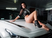 Katia Blou hot brunette model and suv Infinity