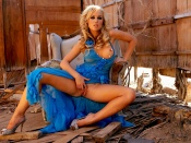 Kayden Kross hot blue dress exposing her perfect nude body