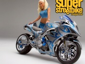 Kendra Wilkinson, sexy playmate, hot custom superbike, wallpaper, babes and bikes, playboy model, blonde, sexy girl