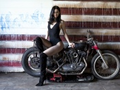 Krysten Ritter sexy actress in stockings and vintage motorcycle