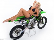 Ktm enduro bike and  busty model Heather wallpaper