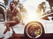 lambo, lamborghini gallardo, sexy model, hot legs, sport cars, girl and car, brunette, babes and cars