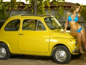 laura dore, sweet cyanide, fiat 500, classic car, sexy model, video vixen, curvy babe, round ass, bikini, babes and cars, erotic