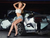 Lenok Nikitina hot blonde model and Ford Mustang custom car