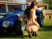 lola, sexy ass, round butt, naked, nude, back side, girls and cars, ac cobra, classic, sport
