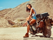 mad max, biker babe, dirty, hot model, sexy legs, girls and bikes, nature, hottie, brunette