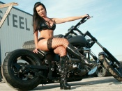 Madd Maxx , fishnet stocking, hot babe, brunette, custom bikes, motorcycle babe, babes and bikes, girl, leather boots, busty babe