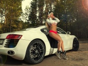 Maria Vasilieva, hot legs, fitness, fit babe, blonde, high heels, audi r8, girls and cars, babes and automobiles, sport