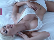 Marie Claude Bourbonnais Wallpaper, sexy wallpaper, busty babe, huge tits, blonde, glamour model, lingerie