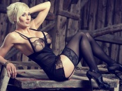 Marie Claude Bourbonnais, busty babe, big tits, blonde, hot body, curvy babe, lingerie, sexy ass, stockings
