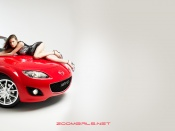 Mazda Mx-5 and sexy model wallpaper