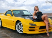 Mazda RX7 and hot blonde wallpaper