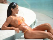 Michelle Lewin hot bikini and fitness model by the pool
