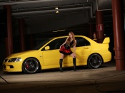 Mitsubishi Lancer evo, hot babe, blonde model, miniskirt, babes and cars wallpaper