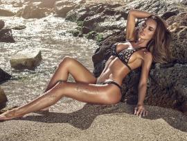 Models reclining bikini
