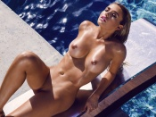 Monica Sims nude curvy blonde playmate by the pool