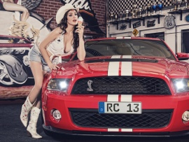 Mustang and hot cowgirl (click to view)