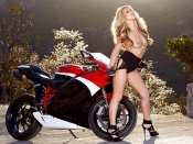 Niki Lee Young topless and Ducati Bike