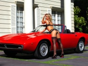 Nikki Leigh, Maserati Ghibli, babes and cars, classic cars, lingerie, model, blonde , round ass, sexy girl
