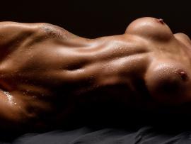 Naked wet female body