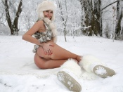 Nude blonde russian beauty in the snow