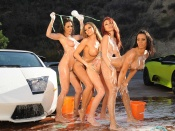 Nude Carwash Madness with hot pornstars