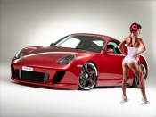 Porsche GT and hot babe wallpaper, sexy wallpaper, cars and babes wallpapers, bubble butt, sexy woman, round ass, babes and machines