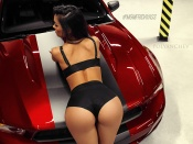 Round ass babe and Ford Mustang