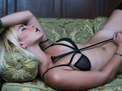 Sadie Von Paris, gothic, makeup, blonde, sexy model, curvy babe, dominatrix, shaved, strategic cover, whip, erotic