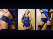 Sarah Jean Underwood sexy blue and black lingerie wallpaper