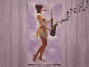 Hot babe with saxofone artistic