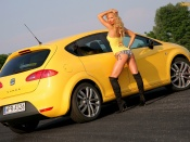 Seat Leon Cupra and hot girl sexy wallpaper