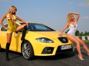 Seat Leon Cupra and hot babes wallpaper