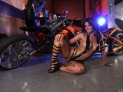 Sexy Babe monica and custom chopper wallpaper