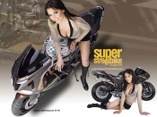 Sexy model and Kawasaki Ninja ZX-6R custom bike by bubba wallpaper, superbike wallpaper, sexy girl wallpaper
