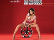 Simoni Wheels racing edition and hot girl model wallpaper